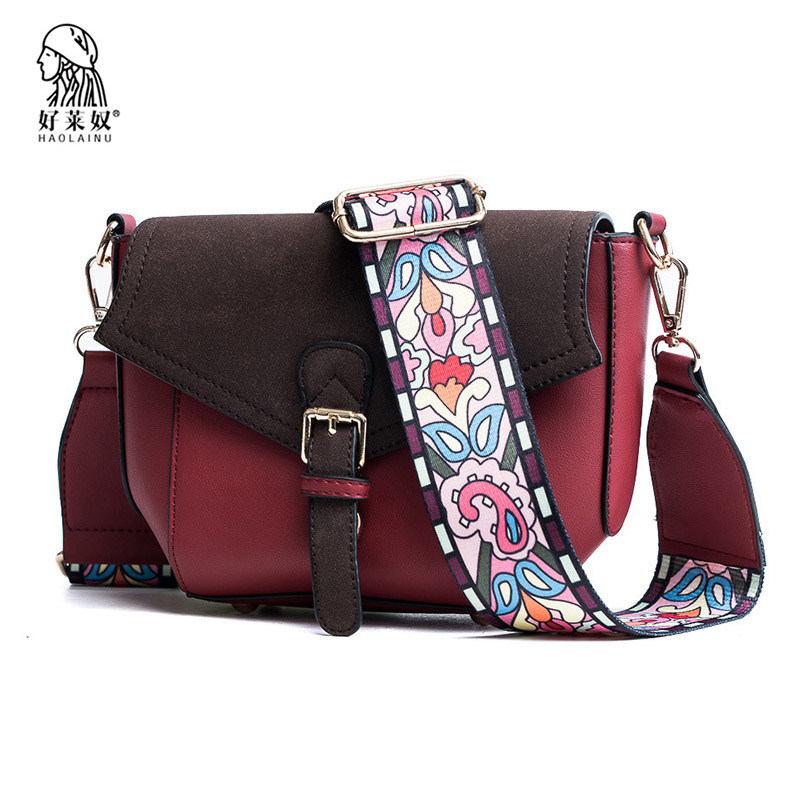 Haolainu Fashion Scrub Women Handbag Wild Strap Panelled Shoulder Bags Vintage Leather Messenger Bag Female Small Crossbody Bags
