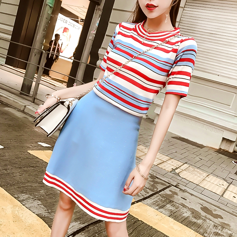New Style Summer 2 Piece Set Women Casual Outfit Knitted Skirt Suit Clothing Set Colorful Striated Tops And Knit Skirts SL048