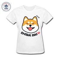2017 Natural Cotton Shiba Inu Emoji Doge Funny Funny T Shirt Women