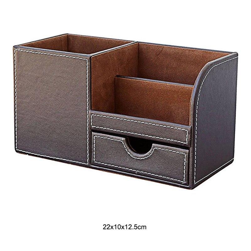 Из искусственной кожи с настольной подставкой косметический уход за кожей макияж организатор настольная подставка для ручек аксессуары для хранения сетки контейнер подарки коробка чехол - Цвет: A2
