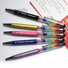 Unique rainbow crystal metal stylus pens 30pcs a lot customized FREE with your logo text/email/web and free shipping