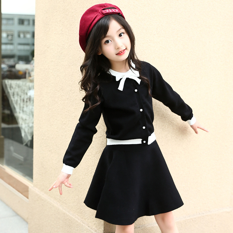Kids Girls Sweater Suit Autumn 2018 Long Sleeve Black Red Cardigan Blouses Teenager Skirt Set Girls Clothes Size 6 - 16 T 12M17A inc new black women s size small illusion stripe shimmer cardigan sweater $69