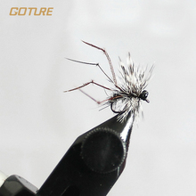 Goture Fly Fishing Lure Bait Mosquito Dry Flies Real Feather Insect for Carp Bass Salmon Fishing with Mustard Hook 4pcs/Lot