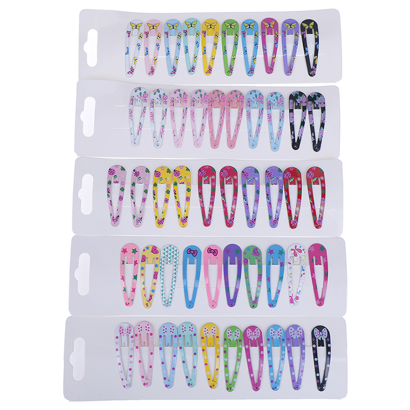 10 PCS Metal New Lovely Cartoon Heart Type Candy Color Girls Hairpins Hair Clip Kids Headwear Children Accessories Baby BB Clips