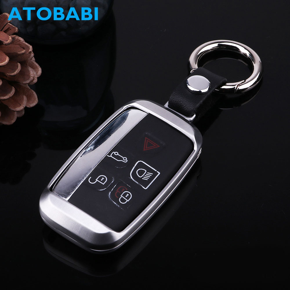 Zinc Alloy Car Key Case Metal Auto Smart Remote Key Fob Shell Protective Cover Keychain Holder for Land Rover Rang Rover Jaguar
