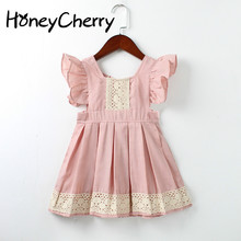 Baby Girl Summer Dress Princess Lace Stitching Color Oufen Children Fly Sleeve dress Clothes Flower Dresses