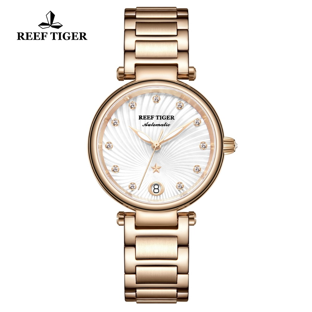 Reef Tiger/RT Luxury Automatic Watches for Women Rose Gold Diamond White Dial Ladies Bracelet Watch reloj mujer RGA1590Reef Tiger/RT Luxury Automatic Watches for Women Rose Gold Diamond White Dial Ladies Bracelet Watch reloj mujer RGA1590