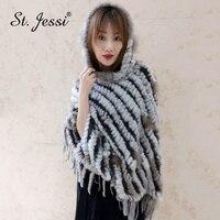 ST.Jessi 2019 Lady's 100% Real Rabbit Fur Cloak Luxury Raccoon Fur Tassels Trimming Poncho Cape With Big Hat Pullover Pashmina