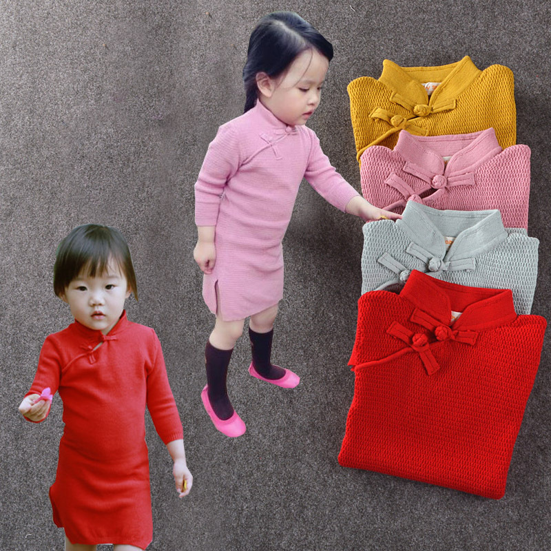 Baby Girls Brand Cheongsam Tröja Småbarn Barn Cardigan Stickad Varm Lång tröja Kinesisk stil Basic Girl Sweater Dress