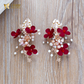 Gorgeous red flower hairgrips crystal hair clips rhinestone hairpins girl jewelry bride pearl headpiece wedding accessory yingai