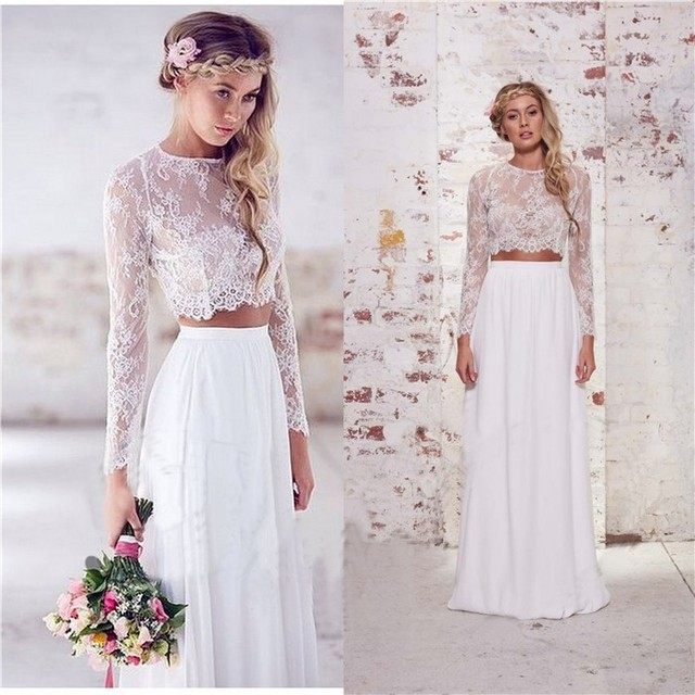 a3ff67995919 Two Piece Beach 2018 Women Long Sleeves Romantic Sheer Lace Summer For party  Bridal Gown Vestido De Noiva bridesmaid dresses