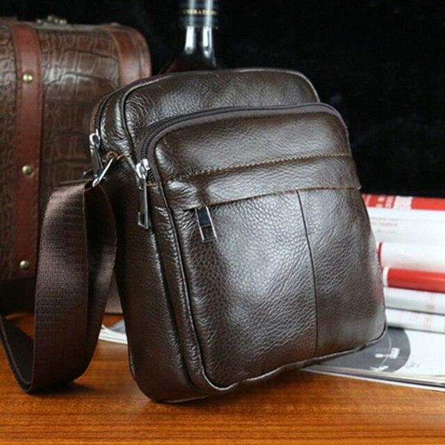 New vintage small men bag genuine leather brand double-deck design men  small messenger bag brown business man Shoulder Bags 6d332a62ecde3