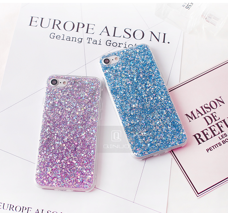 HTB1GuaGacrrK1Rjy1zeq6xalFXak - Gurioo Silicone Bling Glitter Crystal Sequins Hard shell Phone Case For iPhone 11 5 SE 6 6S 7 8 X Plus XR XS Max Protective Case
