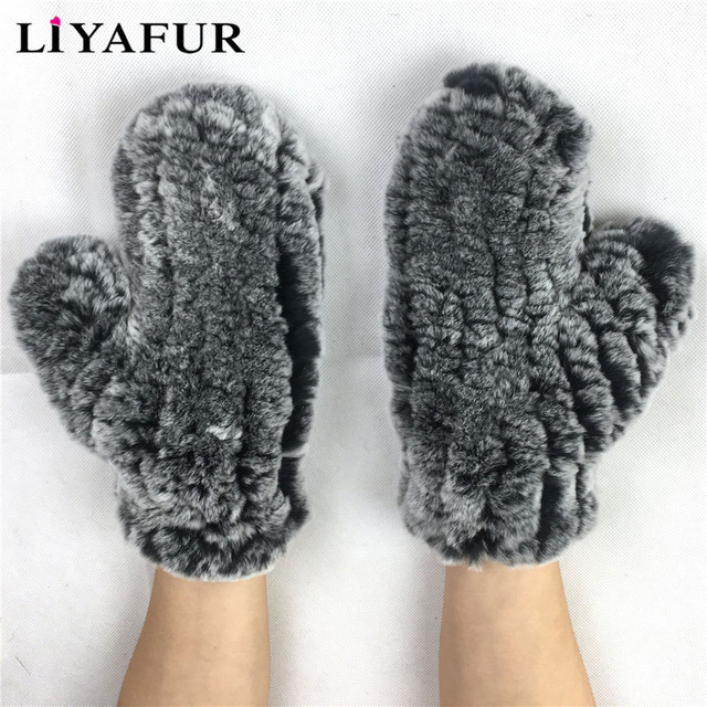 790d39b76 LIYAFUR New Women's 100% Real Genuine Knitted Rex Rabbit Fur Winter Fashion Girls  Gloves Mittens for Woman Stretchable Net