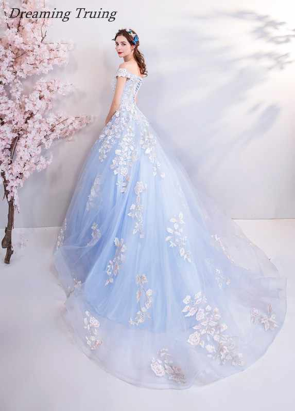 122393ec2d ... Real Images Ball Gown Light Blue Quinceanera Dress White Appliques For  Quinceanera 15 Years Sweet 16 ...