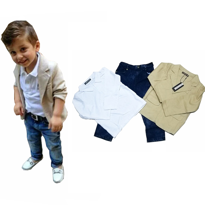 2018 baby boys' loose-fitting clothing sets kids clothes coat +T-shirt +pants 3 pcs / Set kids casual set 2 3 4 5 6 7 8 years
