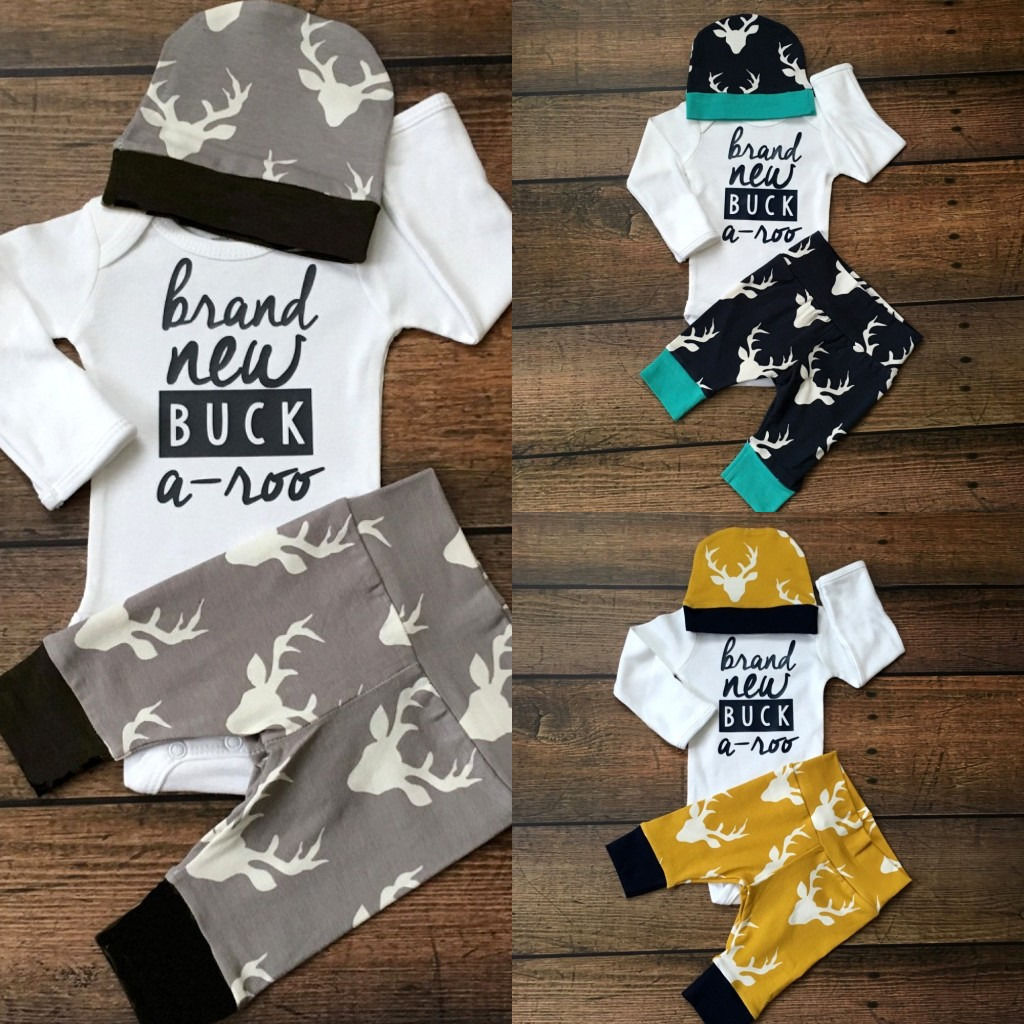 3 Pcs Newborn Baby Boys Girls Buck outfits set Infant Boy Girl Stag Long Sleeve Bodysuit Top +Pants+Hat Outfit Clothes 0-18M 2017 summer newborn infant baby girls clothing set crown pattern romper bodysuit printed pants outfit 2pcs