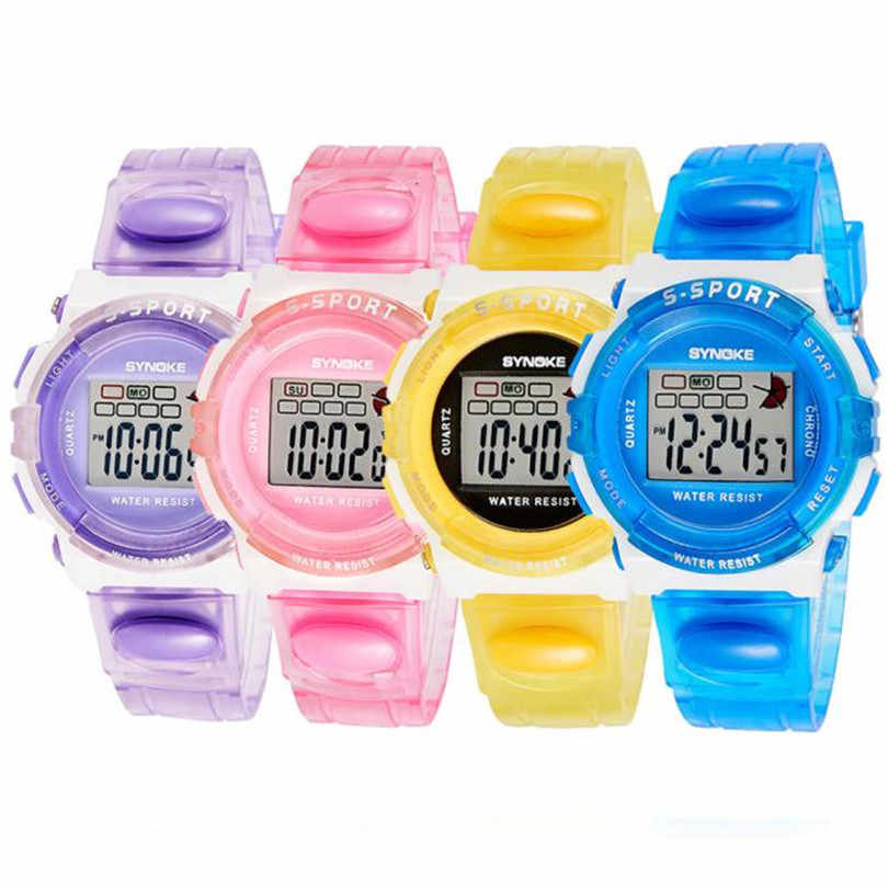 Kid Sport Watch SYNOKE Rubber Digital Smart Led Wristwatch Watch for Girls Kid Children Fashion Casual Round Gift #4m16