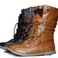 Venta caliente más el tamaño de las mujeres de moda otoño invierno botas de nieve motocicleta botines para las mujeres de los planos con botas zapatos 2016 DDT674