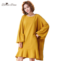 BelineRosa 2017 Women S Big Sizes Dresses Simple Pure Color Bating Autumn Oversized Ruffled Dresses Fit