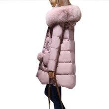 Plus size Women Winter 90% Duck down Long Coat Hooded Big Fur collar Fluffy Warm Down jacket 2017 New Thicken Female Parkas X282