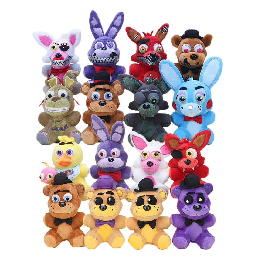 14cm FIVE Nights AT Freddy's FNAF Plush FOXY Chica BONNIE Golden Freddy Nightmare พวงกุญแจ keyring Hook จี้ Plush ของเล่น