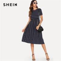 SHEIN Navy Elegant Round Neck Short Sleeve Mixed Stripe Natural Waist Smock Dress Summer Women Weekend