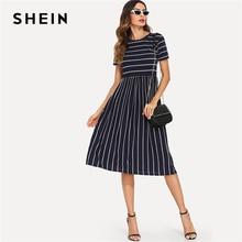 SHEIN البحرية أنيقة مستديرة الرقبة قصيرة الأكمام مختلطة شريط الخصر الطبيعي فستان سموك الصيف النساء عطلة نهاية الأسبوع فساتين غير رسمية