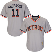 MLB Men S Detroit Tigers Sparky Anderson Majestic Gray Road Cool Base Cooperstown Collection Player Jersey