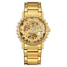 OUYAWEI Stainless steel gold Watches Men Vintage Man Watch Mens Wrist Watches Skeleton Automatic Mechanical Watch Gold   Luxury ouyawei mens fashion skeleton gold mechanical wrist watches clock men power automatic self winding genuine leather band watch