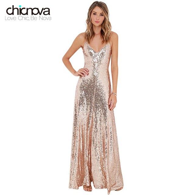 632dd36919 Women sexy Deep V Neck Backless maxi dress High waist Split Sequin long Dress  Party Dress TC19601010183