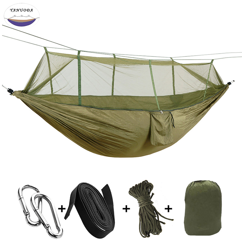 1-2 Person Outdoor Portable Mosquito Net Parachute Nylon Hammock Camping Hanging Sleeping Bed Swing Chair Double Hammock