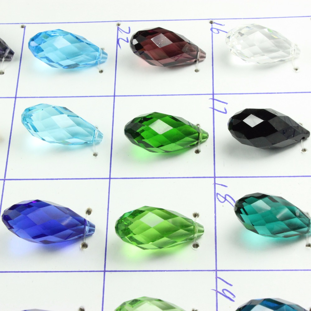 12x25mm 5pcs/lot European Charm Crystal Beads,Blue Color Tear Drop Beads,Cross Hole Crys ...