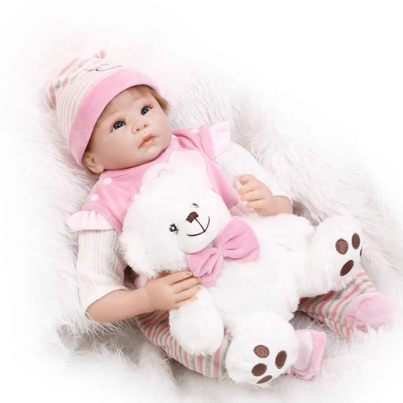 22 inch Soft Silicone Reborn Baby Doll Lifelike Realistic Princess Newborn Babies Girls Kids Birthday Xmas Gift Magnetic Dummy can sit and lie 22 inch reborn baby doll realistic lifelike silicone newborn babies with pink dress kids birthday christmas gift