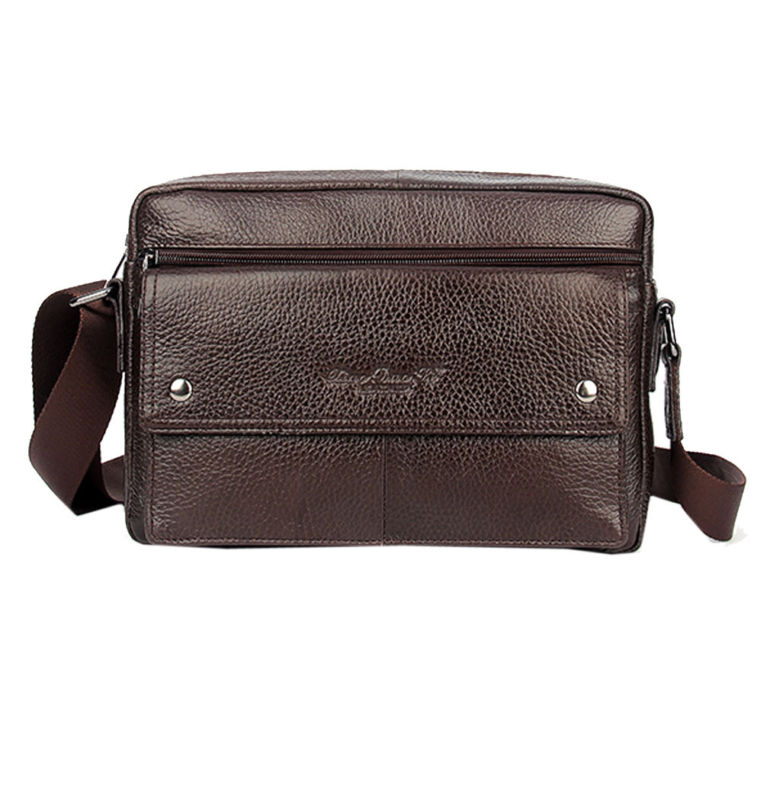 f8de9fcd1eba3 Erkek hakiki deri inek derisi Vintage Satchel omuz Messenger çanta cüzdan  moda iş çantası