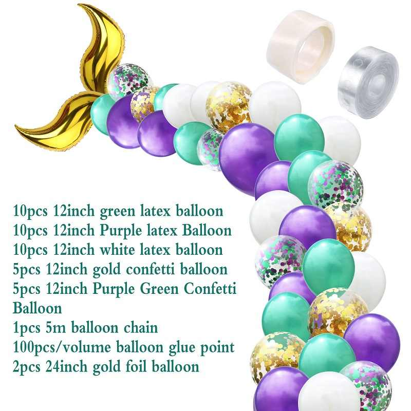 44pcs Mermaid Balloons Garland for Little Princess Girls Baby Shower Birthday Party DIY Decor Wedding Party Supplies