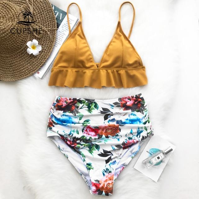 1b104961ebc0d CUPSHE Rose Ruffled Hem Bikini Set Women Flora V-neck High-waisted Two Piece