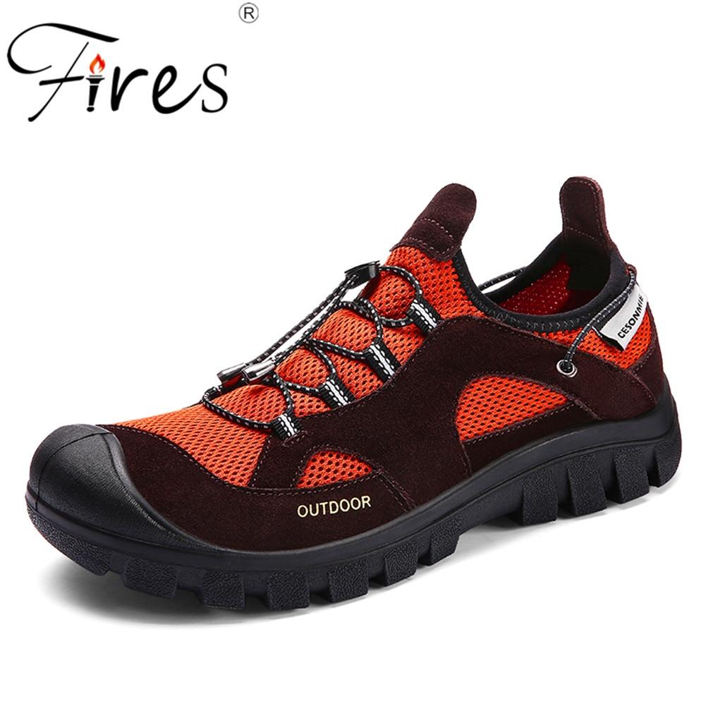 US $25.2 41% OFF|Pożary męskie buty turystyczne na zewnątrz trampki letnie oddychające buty wspinaczkowe dla mężczyzn sandały sportowe Trekking Trail