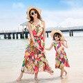2017 da praia do verão vestido de mãe e filha vestidos longos maxi bandagem vestido bohemian olhar família mãe e filha vestido de mamãe e me