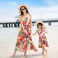 2017 summer beach dress mother daughter dresses long maxi bandage dress bohemian family look mom and daughter dress mommy and me