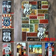 цена на Gas Station US Route 66 Metal Tin Sign Bar Pub KTV Bedroom Home Decor Metal Plates Plaque Metal Wall Art Poster