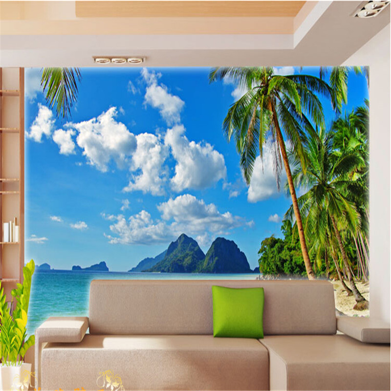 Buy photo wallpaper customize palm beach for Scenery wallpaper for living room