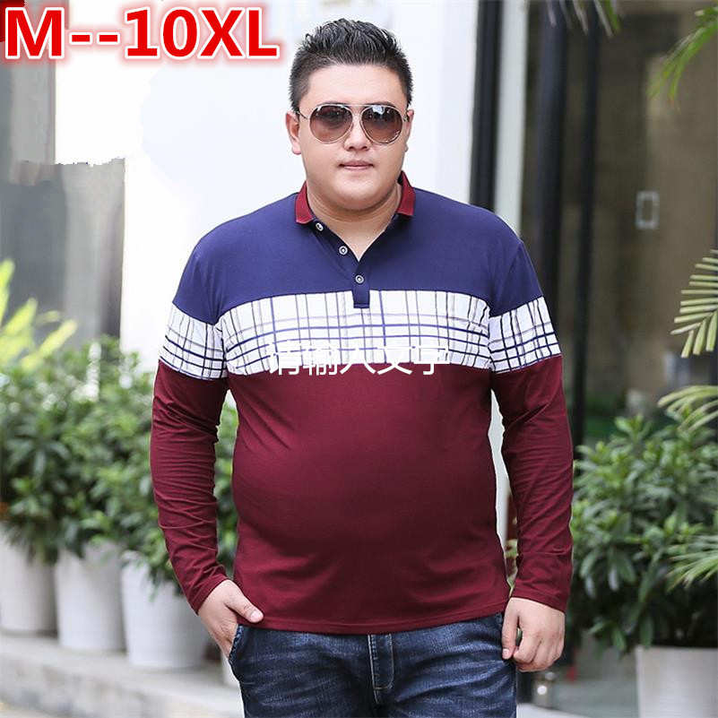plus size 10XL 8XL 6XL 5XL Stripe   Polo   Men 2018 Spring Brand Clothing Cotton Long Sleeve   polo   top Bottom Turn Down Collar Tops
