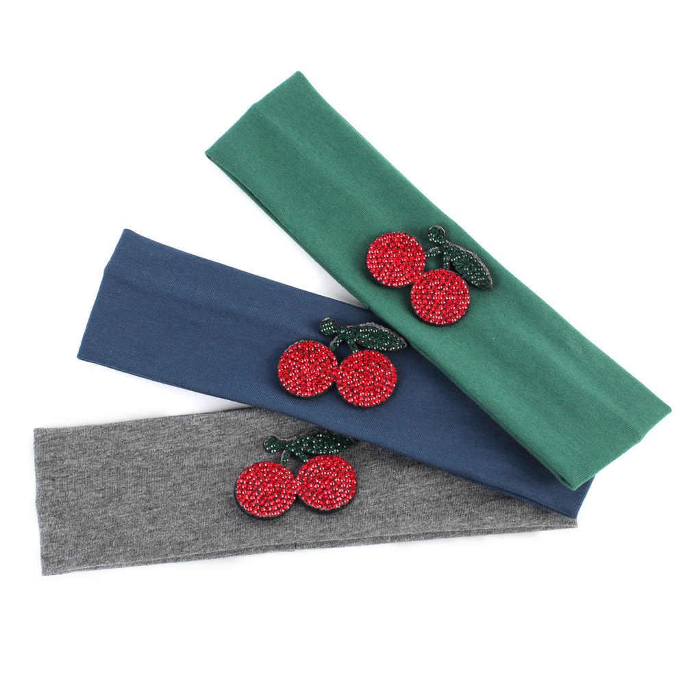 Geebro девушки повязки милый красная вишня ободки для девочек Летняя хлопковая плотная без каблука руководитель группы для новорожденного ребенка тюрбан