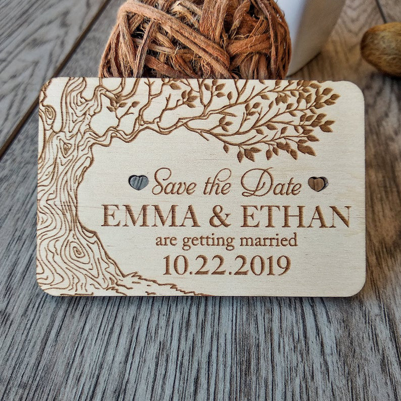 Personalized save the date magnet , Wedding Favors ,Wooden Magnet ,Rustic Heart Save the Date Anniversary Gift, Custom Bride and image