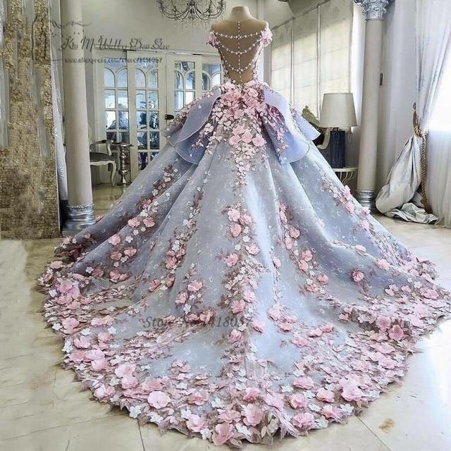 00493aa7f8364 الملونة الفاخرة فساتين الزفاف الوردي الزهور حالمة الكرة ثوب أثواب الزفاف  الأميرة العروس ثوب 2017 vestido