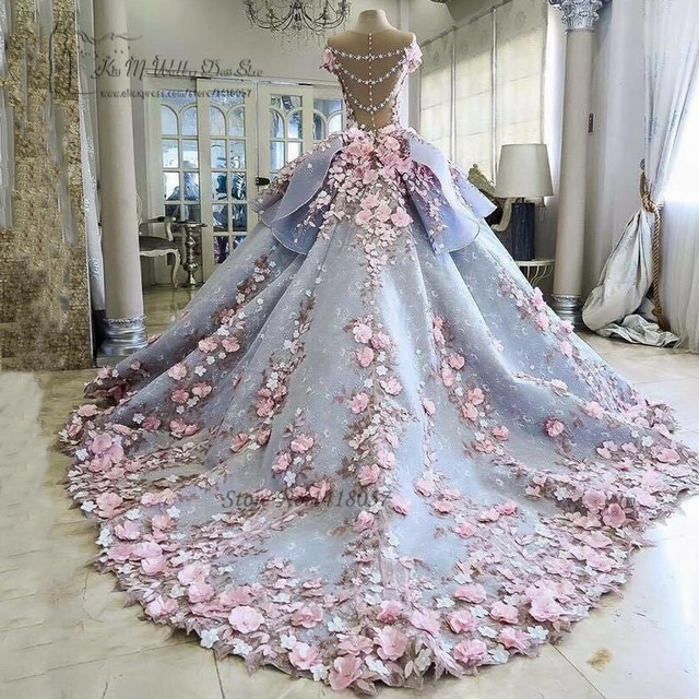 Colorful Luxury Wedding Dresses Pink Flowers Dreamy Ball Gown ...