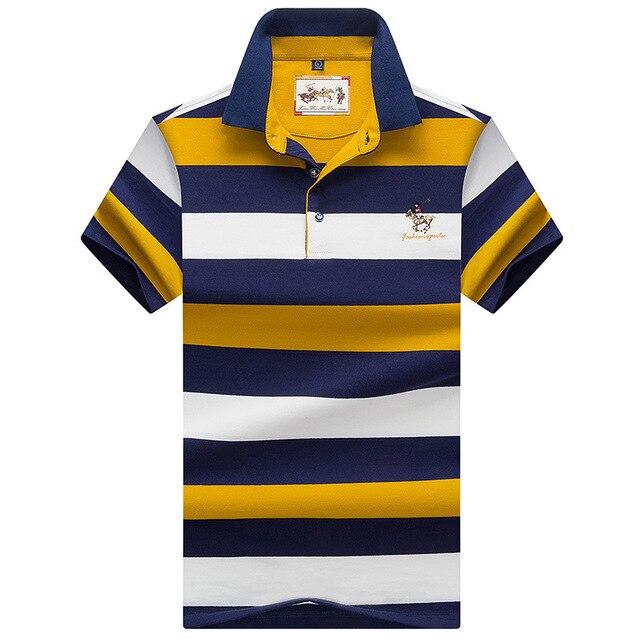 Men   Polo   Shirt 2018 Summer Men Business Casual Breathable blue Striped Short Sleeve   Polo   Shirt Pure Cotton Work Clothes   Polos