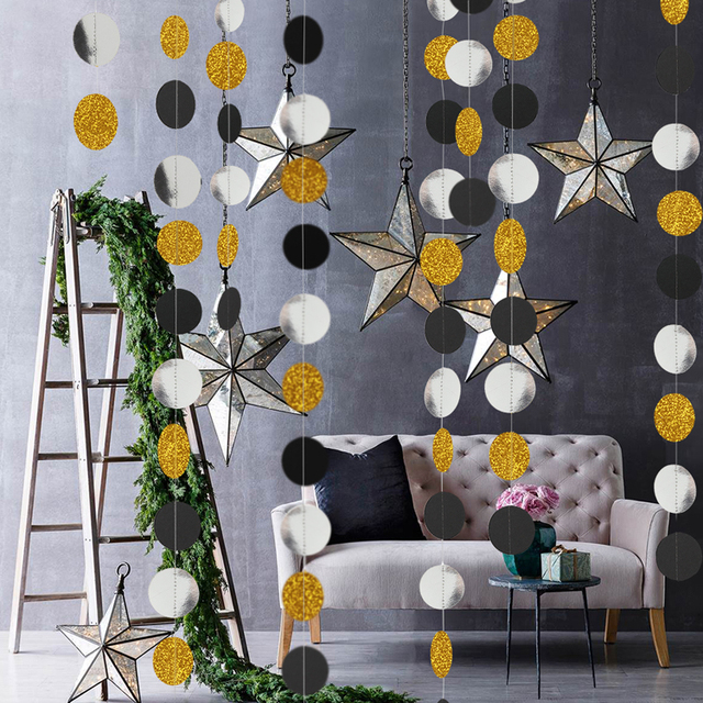 4M 57pieces Party Banners Streamers Confetti Silver Black Gold Glitter Circle Polka Dots Graduation 2019 Paper Garland Banner