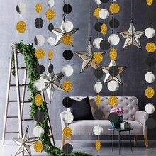 Banderines de fiesta de 4M, 57 piezas, confeti, plata, negro, dorado, purpurina, círculo, lunares, graduación, 2019, guirnalda de papel, Banner